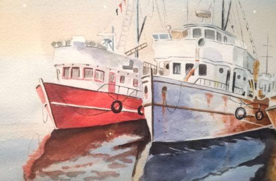 Obras da exposição do Atelier Laky Gatti Diversos Enfoques Fachadas Aquareladas
